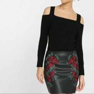 EXPRESS COLD SHOULDER RIBBED CROPPED SWEATER
